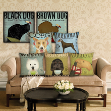 New Home Decor Dog Printed Linen Pillowcase Decorative Cushion Cover Throw Pillow Cover for Sofa 45x45 cm Car Cushion цены