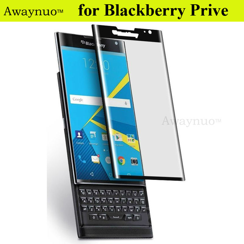 Awaynuo Tempered Glass Screen Protector for BlackBerry Priv Film Protected Full Coverage Curved Guard 3D Film Cover