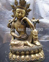 Xd 00981 100% Puro Bronce 24 K Oro Gild Meditación Kwan-yin Bodhisattva estatua de Buda