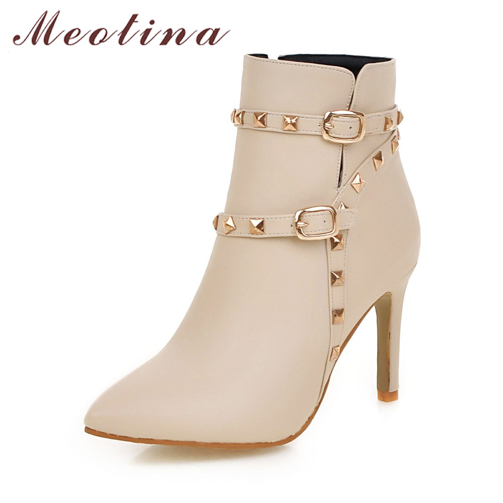 Meotina Boots Women Ankle Boots Rivets High Heel Shoes Ladies White Boots Winter Zipper Buckle Pointed Toe Handmade Shoes 2018 meotina new shoes women boots high heels ankle boots pointed toe buckle martin boots zip ladies shoes white big size 44 45 10 11