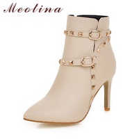 Meotina Boots Women Ankle Boots Rivets High Heel Shoes Ladies White Boots Winter Zipper Buckle Pointed Toe Handmade Shoes 2018