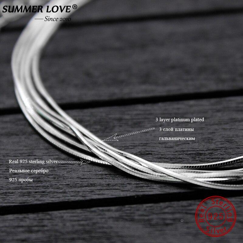 HTB1PfcklDnI8KJjSszgq6A8ApXaq 2018 New Simple Multilayer Tassel Snake chain Bracelet Genuine 100% 925 Sterling Silver jewelry for women chrismas gift