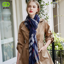 GOPLUS 2019 Spring Winter Pleated Stripe Scarf Women Cotton Patchwork luxury shawls hijab Vintage silk scarves Femme bandanna stylish patchwork pattern pleated scarf for women