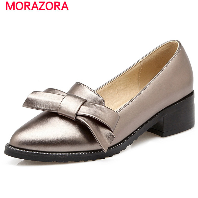 ФОТО MORAZORA Four seasons elegant fashion shoes med heels 4.5cm women pumps party shoes shallow large size 34-45