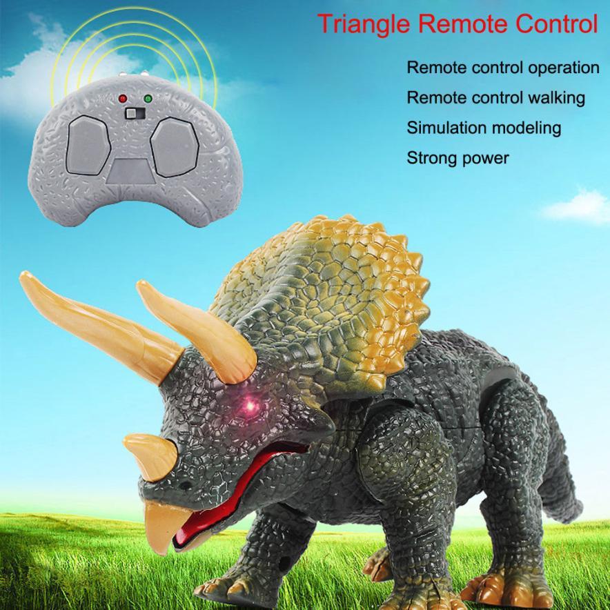 De Télécommande de marche Dinosaure Triceratops Jouet Modèle Lumière Son Figurine Électronique Animaux Y1123