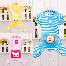 Charming stripped chihuahua pajamas with monkey plush on back