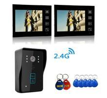 YobangSecurity 2.4G 7″ TFT LCD Wireless Video Door Phone Doorbell Wireless Phone Intercom 1 camera 2 Monitor With RIFD Keyfobs