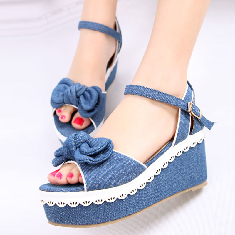 Wedges Chunky Heel Bowknot Open The Toe Jean Ankle Wrap Women Summer Sandals Lady Fashion Denim Peep Toe Shoes 35-39 SXQ0610 gladiator women new arrival summer wedges chunky heel ankle wrap fashion casual sandals shoes plus size 34 43 sxq0610