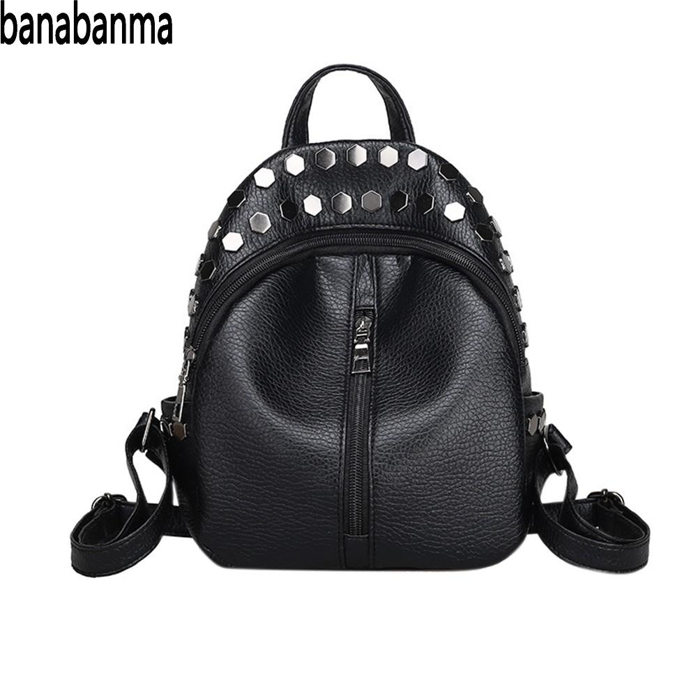 Banabanma Woman Backpack Unique Rivet Advanced PU Material and Smooth Zipper Fashion Style  Students Girls Women Backpack ZK50Banabanma Woman Backpack Unique Rivet Advanced PU Material and Smooth Zipper Fashion Style  Students Girls Women Backpack ZK50
