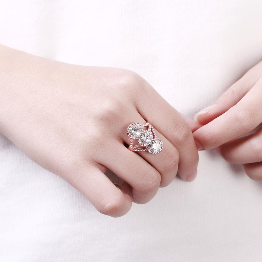 Most Trendy Bling Czech Drill Three Moon Connection Rose Gold Rings ...