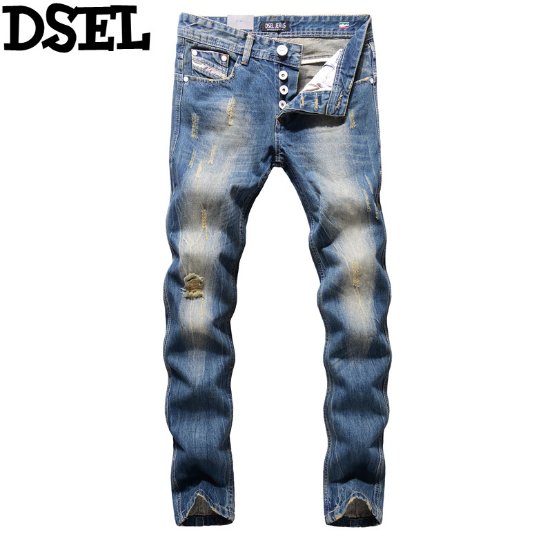 DSEL Brand Men Jeans High Quality Straight Slim Fit Frayed Ripped Jeans Men Casual Leisure Pants