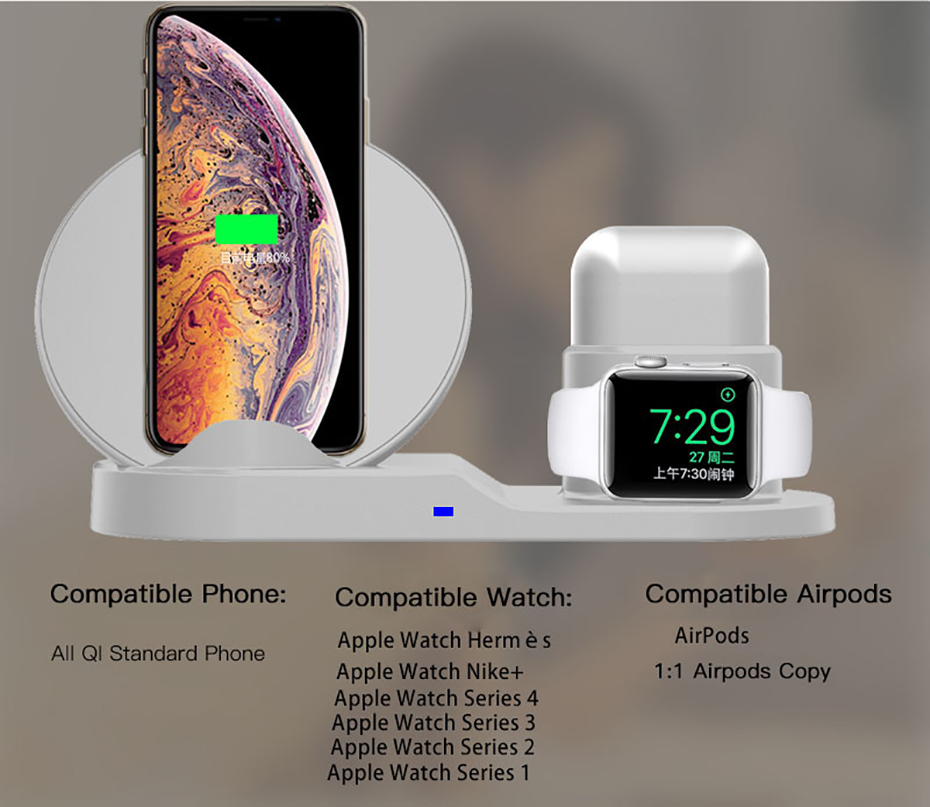Fast Charge Wireless Charger For Iphone XS XR XS Max 3 In 1 Wireless Charger Dock Station For Apple Watch Series 1 2 3 4 Airpods (5)