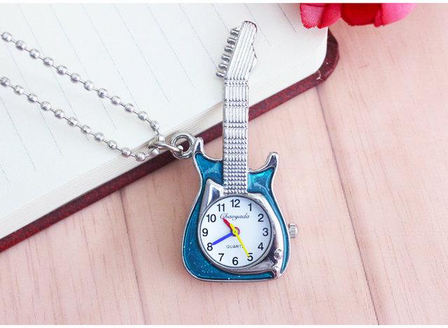 chaoyada Hot Fashion Vintage Retro Quartz Pocket Watch Guitar Shape Pocket Quartz Keyring Watches keychain Watch Necklace Gift