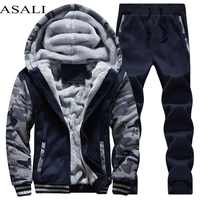 Chándal deportivo de lana gruesa con capucha marca-ropa Casual Track Suit hombres chaqueta + pantalón de piel caliente dentro de la sudadera de invierno