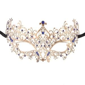 Удивительные маски венецианских маскарадов качества венецианские черные винтажные серебряные блестящие металлический лазерный разрез Вечерние Маски драгоценные камни - Цвет: vintage blue gems