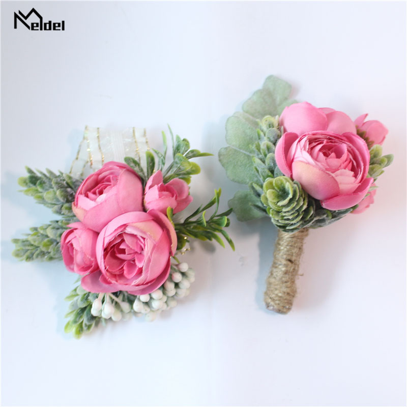 Meldel Boutonniere Groom Corsage Bridal Wrist Corsage Rose Bracelet Pink Orange Artificial Silk Sasanqua Flower Wedding Supplies