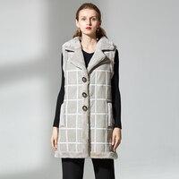 long women real sheep fur vest