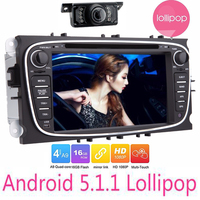 7018B 2 Din Quad Core Car DVD gps navigator Player For Ford Focus Android 5.1 GPS Navigation Radio 3G WIFI AUX Multimedia Audio