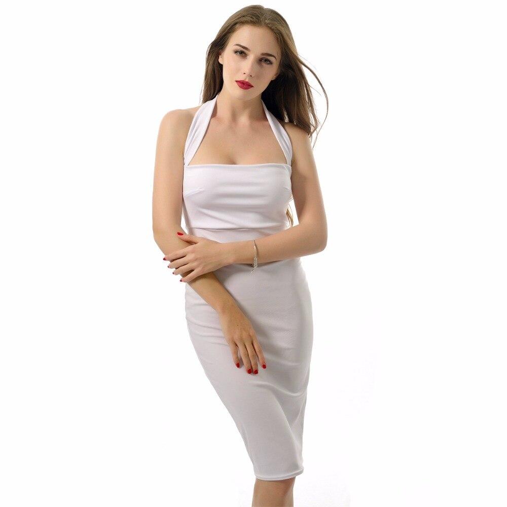 Sexy Dos Manches Robe Noir Jh Bretelles blanc longueur rouge 2018 Moulante Nouveau Halter Nu Genou bleu Sans Neck Femmes D'été 16 wxIYA
