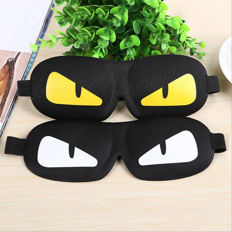1pc Cool Sleeping Eye Mask Nap Cartoon Eye Shade Sleep Mask Black Mask Bandage on Eyes for Sleeping-MSK10