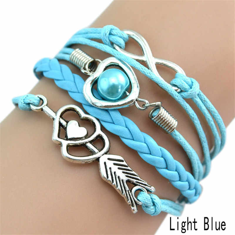 Women/Girls Multilayer Braided Bracelet With Heart & Number 8 Shape Decorations 9 Colors New Fashion Jewelry