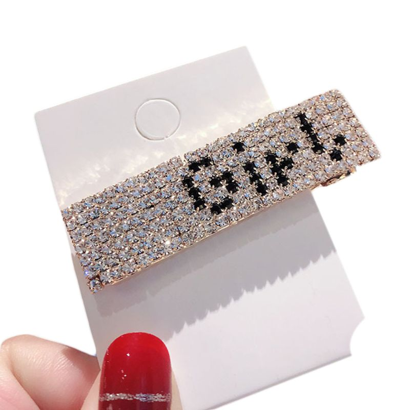 Boutique Multi Rows Shimmer Rhinestone Geometric Hair Clip Ladies Funny Letters Smile Face Duckbill Hairpin Night Party Barrette in Hair Jewelry from Jewelry Accessories