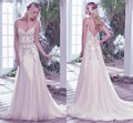 2017 Verão Boho Backless Vestidos de Casamento Romântico Com Decote Em V Cintas de Espaguete Frisada Bohemian Vestidos de Noiva com Trem