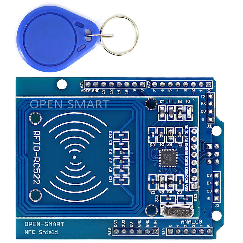 NFC Shield RFID RC522 Module RF IC Card Sensor + S50 RFID Smart Card for  Arduino UNO / Mega2560