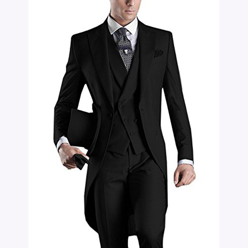 Custom Made 2018 Morning Long Jacket Tailcoat Wedding Suit For Men 3 Pieces Mens Slim Fit Black Groom Tuxedo Suits Bridegroom
