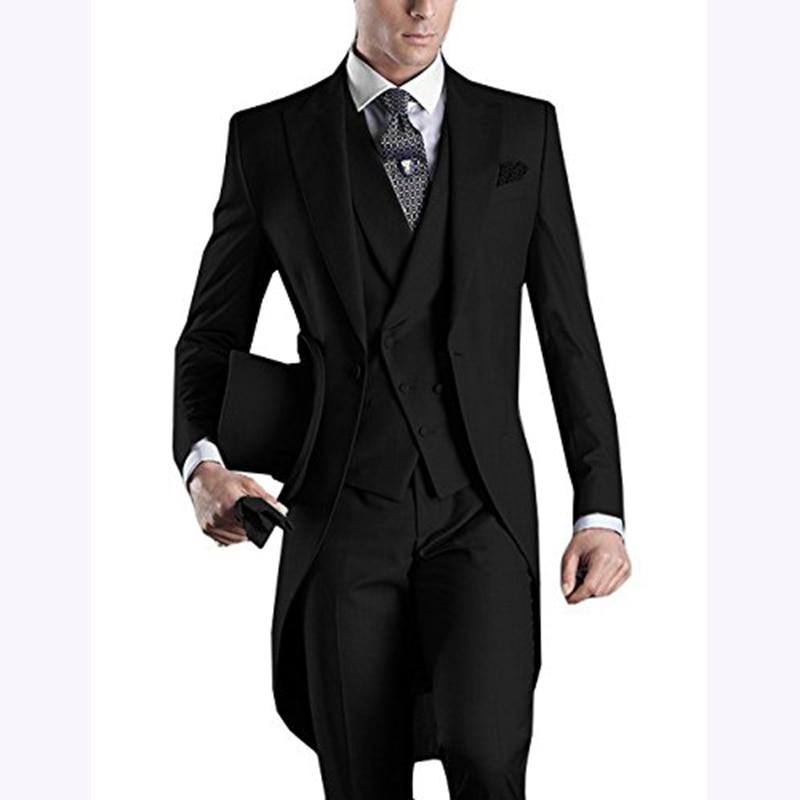 Custom Made 2018 Morning Long Jacket Tailcoat Wedding Suit For Men 3 Pieces Mens Slim Fit Black Groom Tuxedo Suits Bridegroom