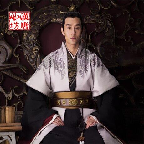 Male hanfu customer service TV Play General Traditional Hanfu Costume in Wei Shu Wu Kingdoms Black Red General Costume