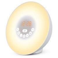 Wake Up Light Sunrise Simulation Alarm Clock With Sunset Snooze Function Bedside Night Light 6 Colors