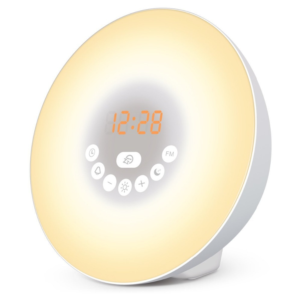 Wake Up Light Sunrise Simulation Alarm Clock with Sunset & Snooze Function Bedside Night Light 6 Colors 7 Alarm Sound & FM Radio philips hf3505 70 wake up light световой будильник