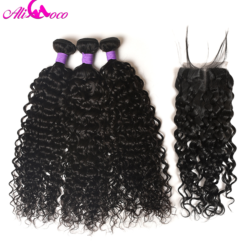 Ali Coco Water Wave Bundles With Closure 4PCS/lot Brazilian Hair Weave Bundles 100% Human Hair Bundles with Closure Remy Hair
