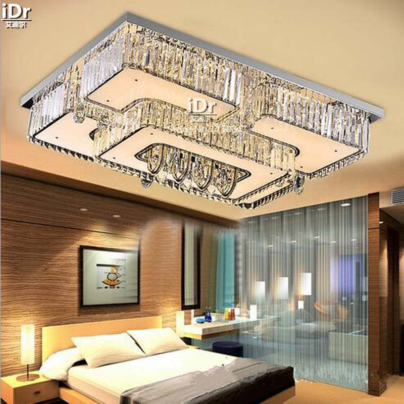 Continental Square LED Crystal Lamp Living Room Luxury Bedroom Decorated Restaurant Lights Ceiling Wwy