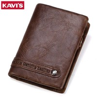 KAVIS Genuine Leather Wallet Men Card Holder And Coin Purse Rfid Magic Walet PORTFOLIO MAN Portomonee