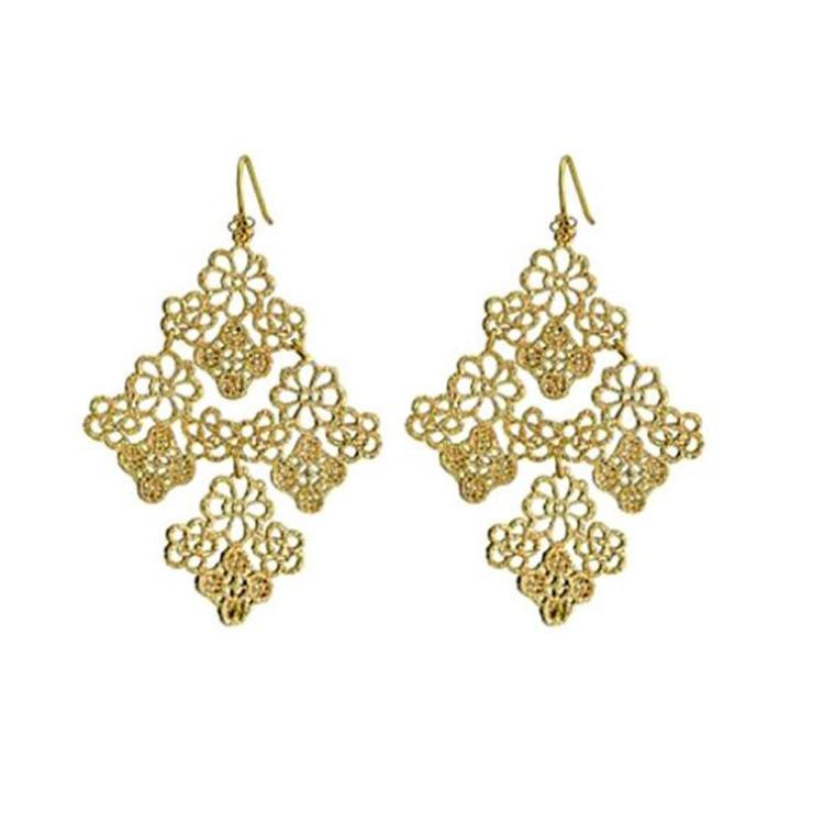 Bohemian hollow gemetric shape flowers drop earrings for women holiday accessories Z084
