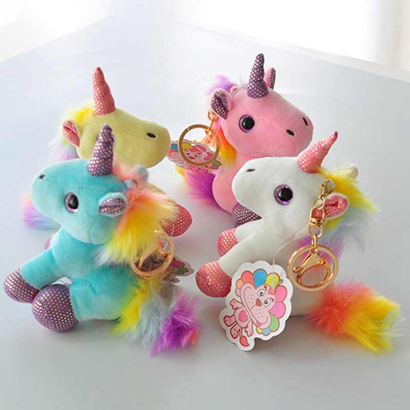 Colorful Unicorn Plush Toy Backpack Pendant Keychain Stuffed Animal Plush Keychains Small Pendant Bag Accessories