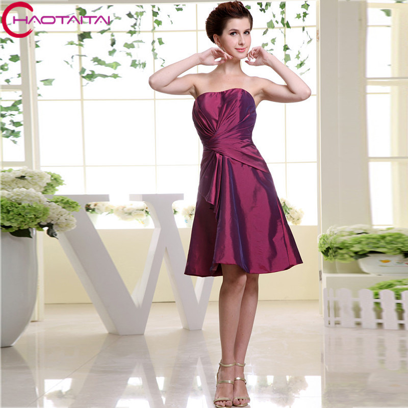 Bridesmaid Dress 2018 Purple A Line Knee Length Classy