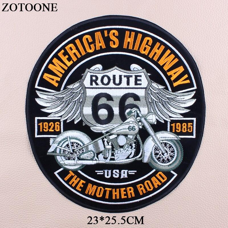 ZOTOONE fer sur Route 66 moto patchs pour vêtements grande lettre Punk vélo Patch broderie pour vêtements bricolage veste jean E
