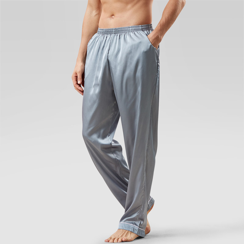 New Arrival Ice Silk Pajamas Men Summer Solid Loose Pajama Pants Satin Casual Soft Homewear Pantalon Pyjama Homme MA50198