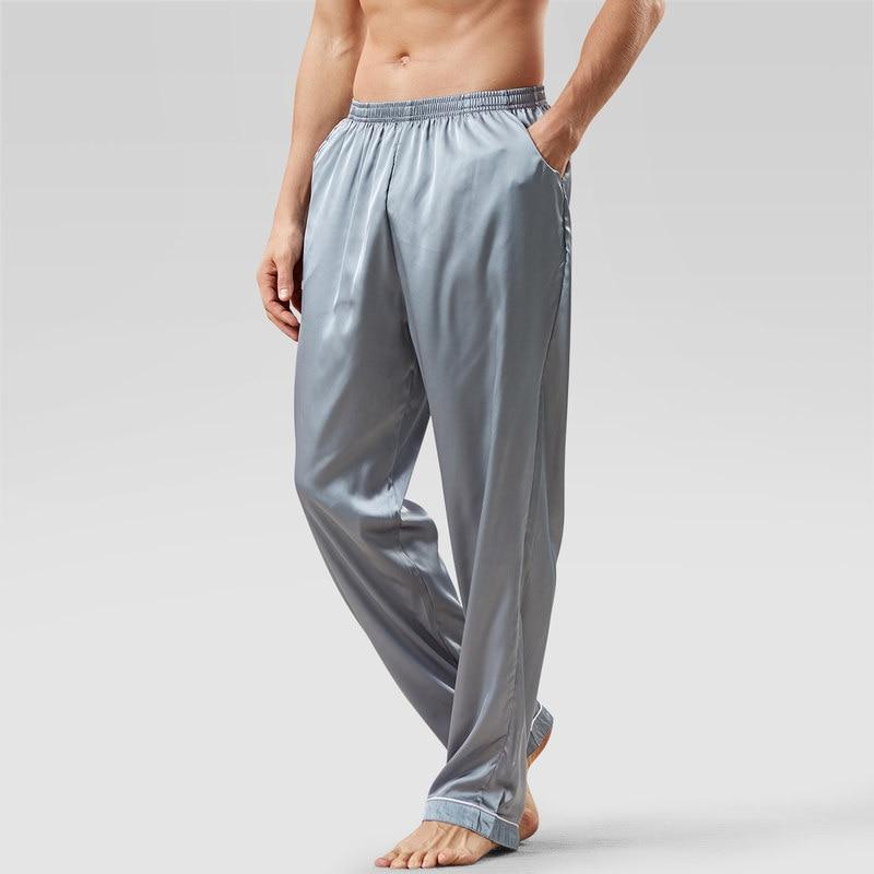 New Arrival Ice Silk Pajamas Men Summer Solid Loose Pajama Pants Satin Casual Soft Homewear Pantalon Pyjama Homme MA50198