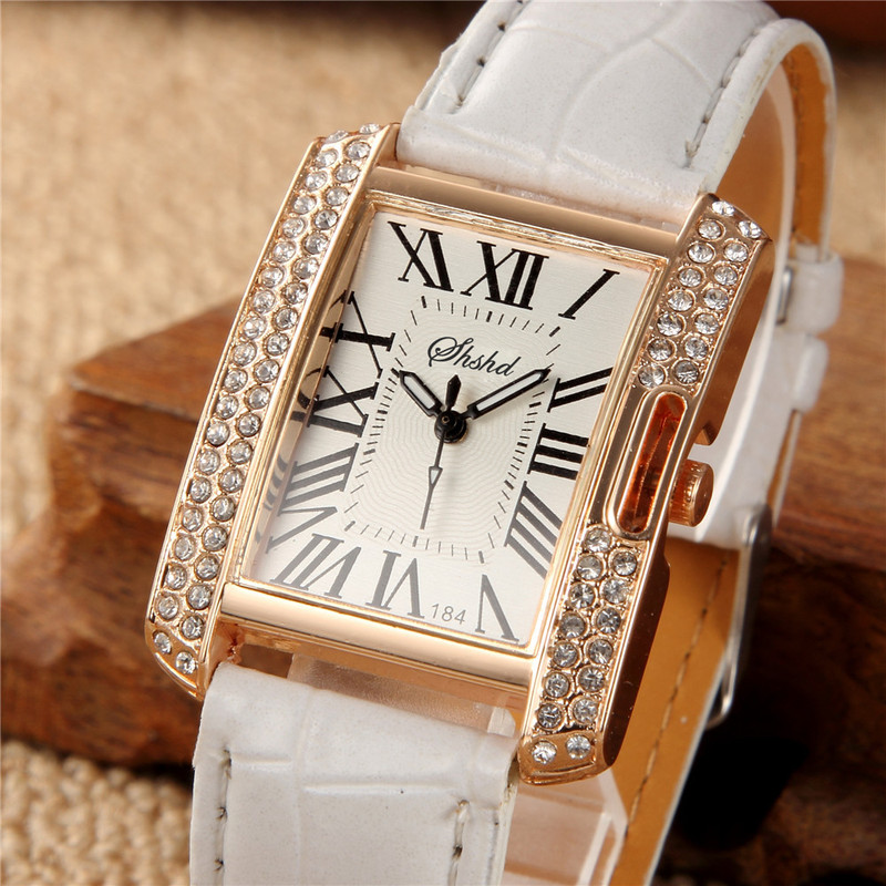 Fashionable Rectangular Belt Lady Watch Female Style Diamond Set Popular Student Electronic Quartz Watch