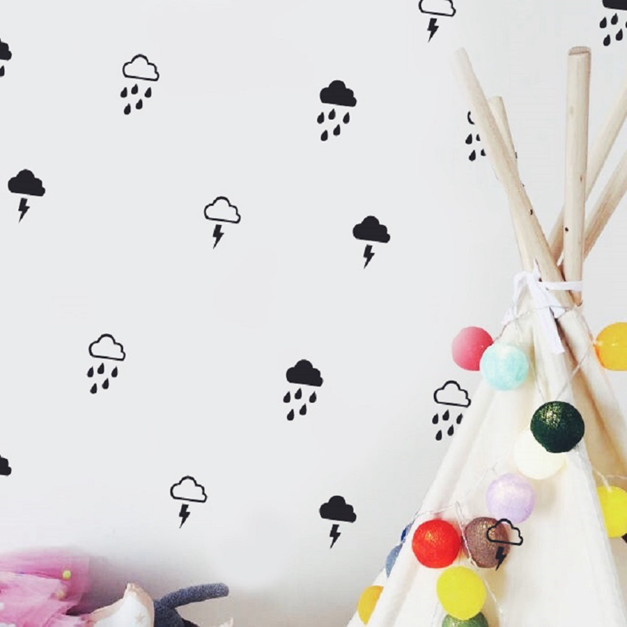 Cloud With Rain Wall Decals , Lightning Raindrop Cloud Wall Stickers Modern  Kids Room Cute Wall Decor In Wall Stickers From Home U0026 Garden On  Aliexpress.com ...
