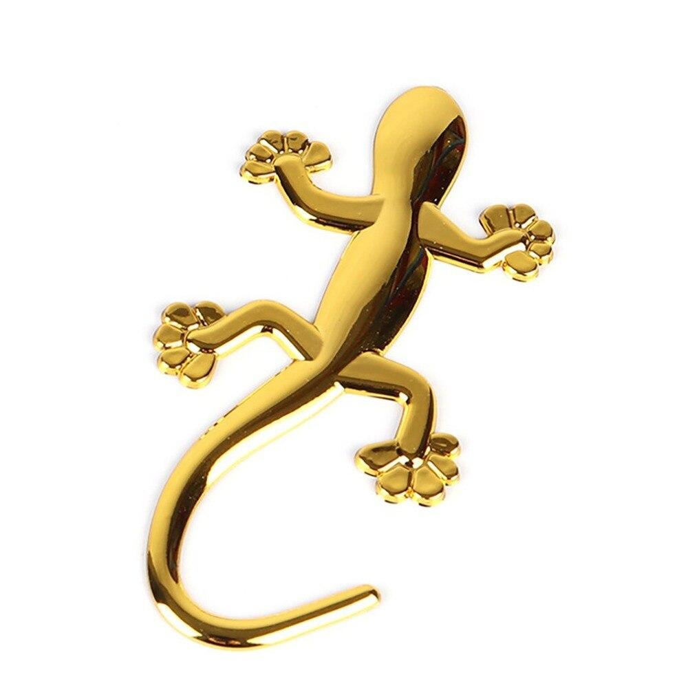 3D Car Auto Gecko Shape Lizard Chrome Silver Alloy Badge Emblem Decal Sticker