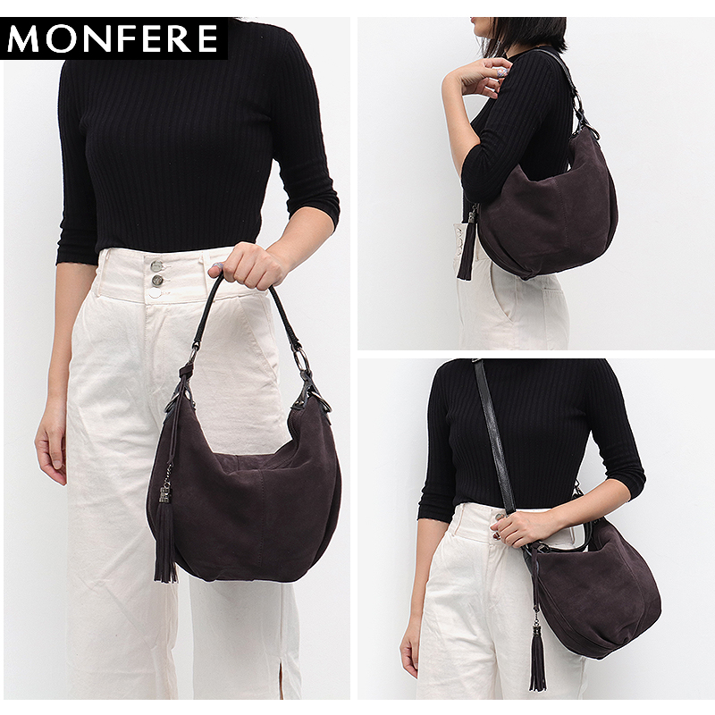 MONFERE Women Real Split Suede Leather Shoulder Bag Female Pillow Leisure  Nubbuck Casual Handbag Hobo Messenger Top-handle bags - aliexpress.com -  imall.com 5a44b1c80050f