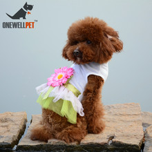 Wedding Decoration Dog Dress Fashion White Cotton Dresses With Bowknot And Big Sun Flowers S To XXL For Small Or Medium Pet