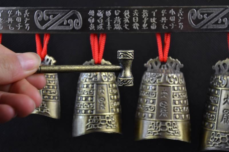 Pirinç qədim Çin musiqi alətində Çin Tibet dragon glockenspiel - Ev dekoru - Fotoqrafiya 3