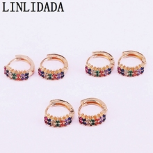 6Pairs, Fashion Colorful multi color cz circle earrings Gold Filled