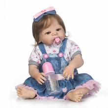 New 22″Full Silicone Bebe Reborn Baby Girl Princess Dolls Lifelike Newborn  Babies Alive Doll for Child Bath Shower Bedtime Toy